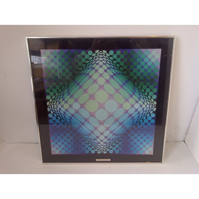 MODERN ART -- By Victor Vasarely -- Circa 1960 Silver Metal Frame / Glass Front -- Ready For Display Very Good Condition...
