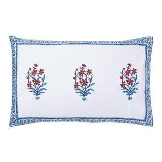 Anna-Nargis Blue & Orange Reversible Pillow Case For Sale