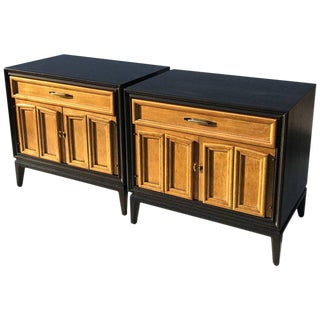 1970s Mid-Century Modern Ebonized and Gold Leafed Night Stands - a Pair For Sale