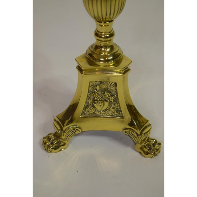 19th-Century French Brass Altar Sticks (Pair) For Sale - Image 6 of 8