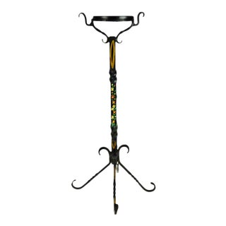 Vintage Hand Painted Tole Style Wrought Iron Candle Holder Plant Stand For Sale