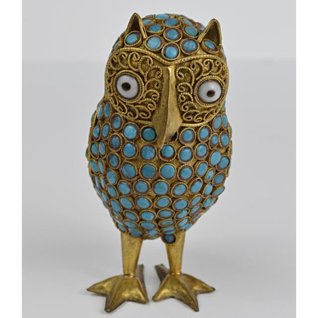 Brass Nepalese Brass Owl Figurine With Turquoise and Coral For Sale - Image 7 of 13