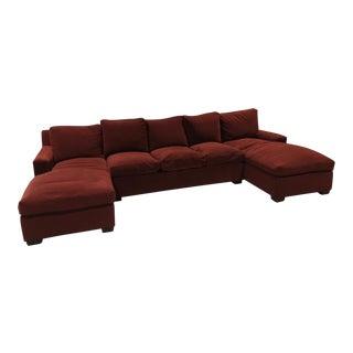 Modern Custom Burgundy Velvet Sectional Sofa For Sale