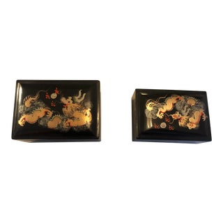 19th Century Japanese Black and Gold Lacquer Boxes - a Pair For Sale