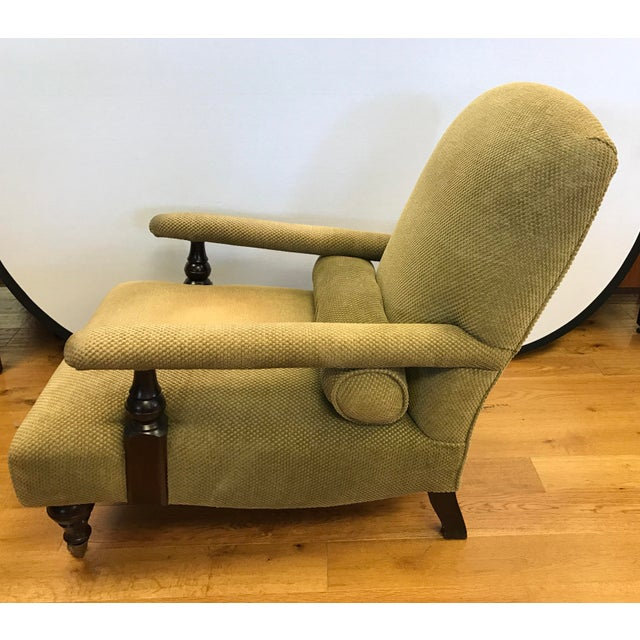 George Smith Green Upholstered Edwardian Club Chair For Sale - Image 5 of 6