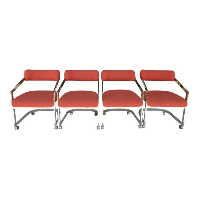 Dia Chairs on Casters - Set of 4 For Sale