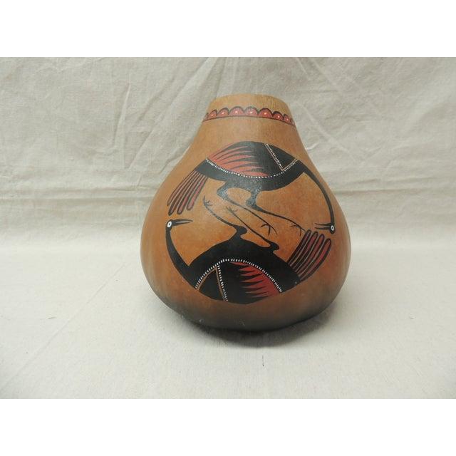 American Indian Painted Gourd Art Vase - Image 2 of 4