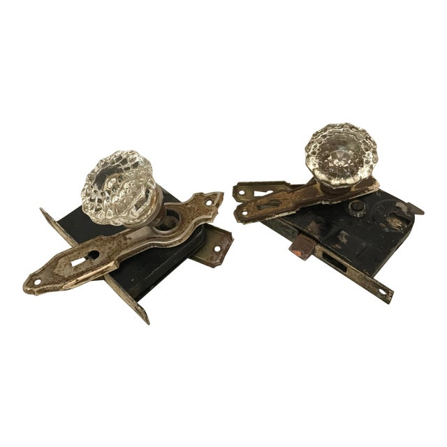 Early 20th Century Glass Door Knobs and Locks - a Pair For Sale