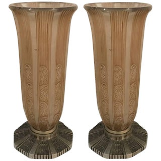 French Art Deco Vases by Hettier & Vincent - a Pair For Sale