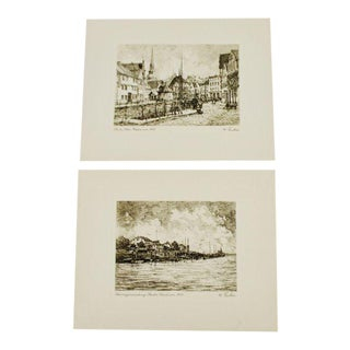 W. Fischer German Village Scene Prints - A Pair For Sale