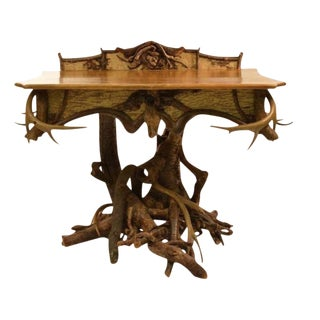 1920s Rustic Adirondack-Style Root and Antler Console For Sale