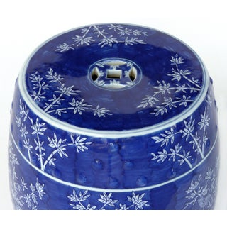 Chinese Blue & White Porcelain Garden Seat W/ Bamboo Motif Preview