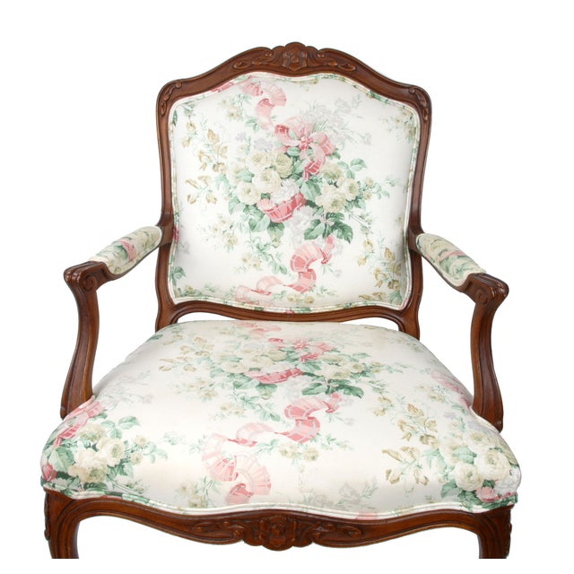 Hollywood Regency-Style Wood Arm Chair - Image 10 of 10
