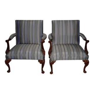 Pair of Matching Ralph Lauren Carved Mahogany & Upholstered Arm Chairs For Sale