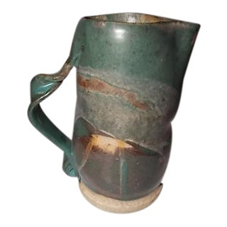 Vintage Handmade Pottery Water Pitcher For Sale