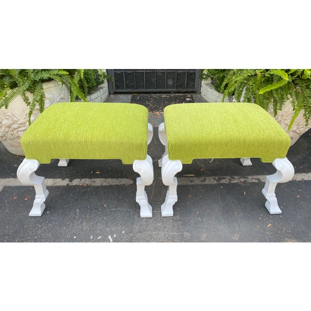 2010s Charles Pollock Hollywood Regency Chartreus Velvet Ottoman Benches - a Pair For Sale - Image 5 of 5
