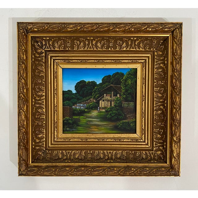 Late 20th Century House and Landscape Painting by Manuel Perez, Framed For Sale - Image 4 of 4