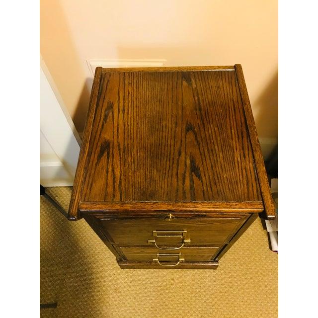 Metal Oak Raised Side & Brass Detail 2-Drawer File Cabinet For Sale - Image 7 of 9