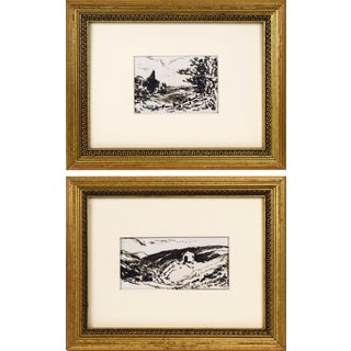 Antique 19th Century English Ink Wash/Watercolor Paintings - a Pair For Sale