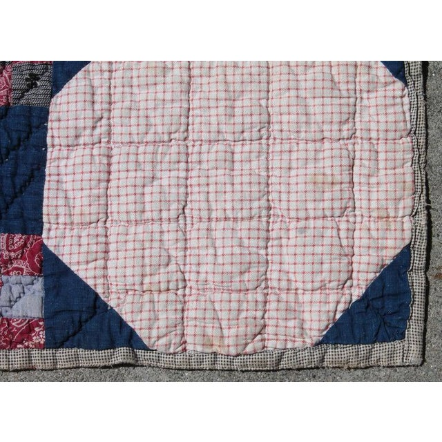 Rustic Antique Quilt in Nine Patch Postage Stamp Pattern For Sale - Image 3 of 7