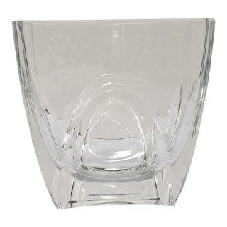 Orrefors Swedish Rectangular Crystal Vase For Sale