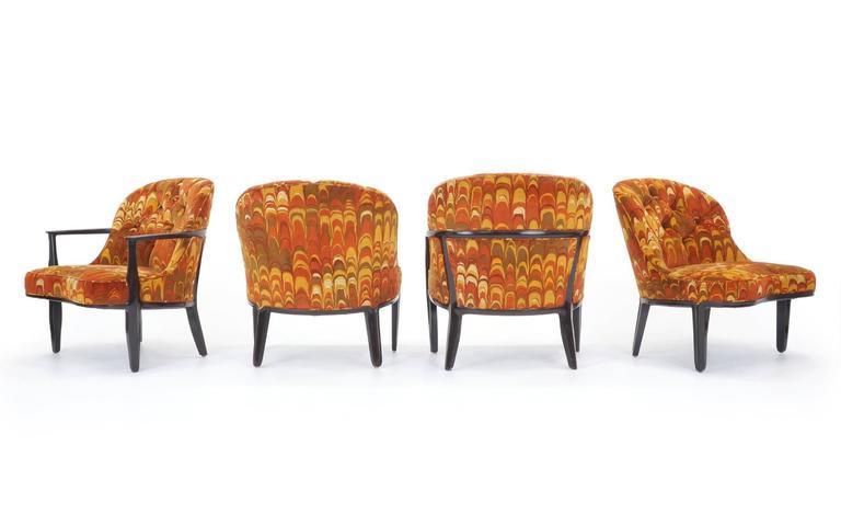 Four Janus Chairs Edward Wormley For Dunbar. Original Jack Lenor Larsen  Fabric   Image 2