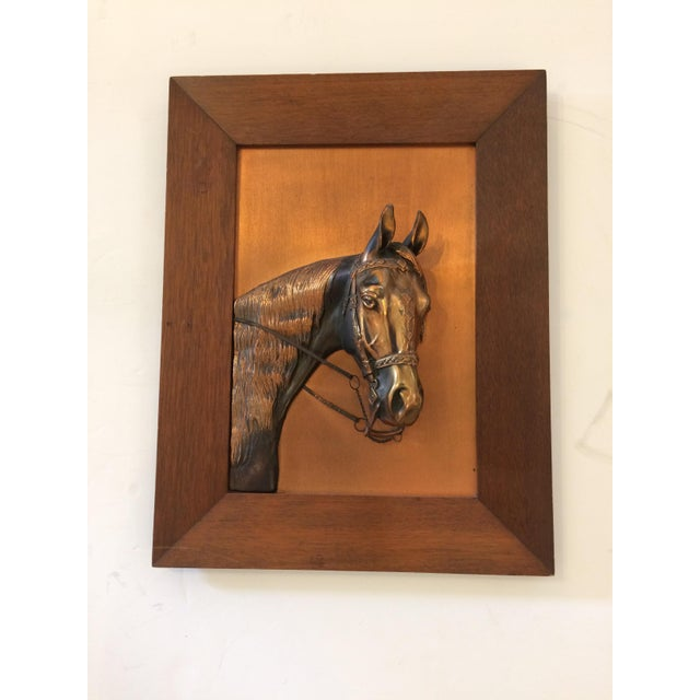 Vintage Framed Copper Equestrian Horse Head in Relief For Sale - Image 10 of 10