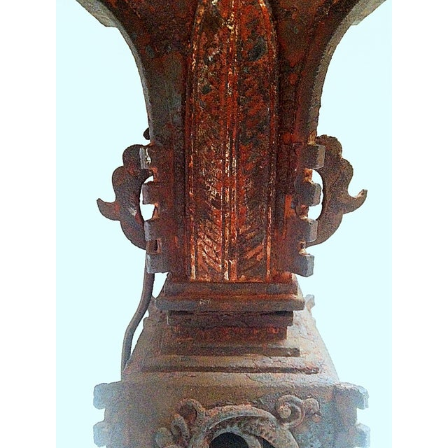 Qing Dynasty Iron Gu Vase Lamps - Pair - Image 7 of 11