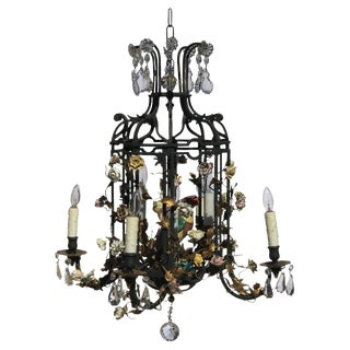 20th Century French Bagues Bronze Folly Shaped Porcelain Flower Chandelier For Sale