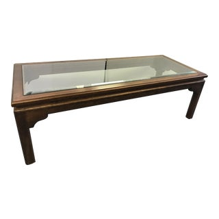 Vintage Chinese Chippendale Beveled Glass and Solid Wood Coffee Table For Sale
