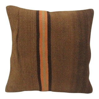 Vintage Handmade Orange Striped Natural Kilim Pillow Cover For Sale