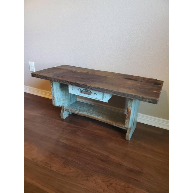 Farmhouse Antique Rustic American Country Farmhouse Wooden Bench For Sale - Image 3 of 11