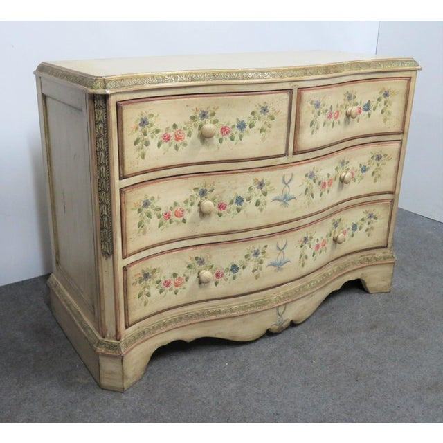 French Style Paint Decorated Serpentine Front Dresser For Sale - Image 4 of 7
