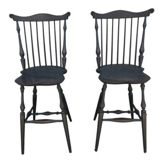 Lawrence Crouse Windsor Barstools - A Pair For Sale