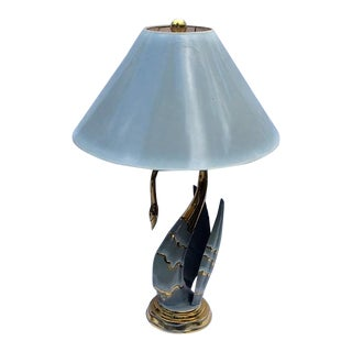 1980s Mid-Century Modern Brass & Enamel Swan Form Lamp with Shade For Sale