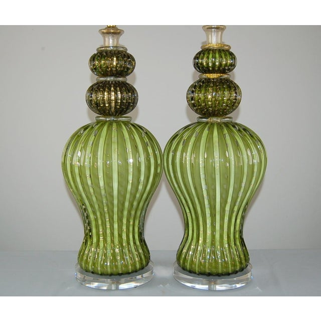 Brass Vintage Murano Glass Table Lamps Green Gold For Sale - Image 7 of 10