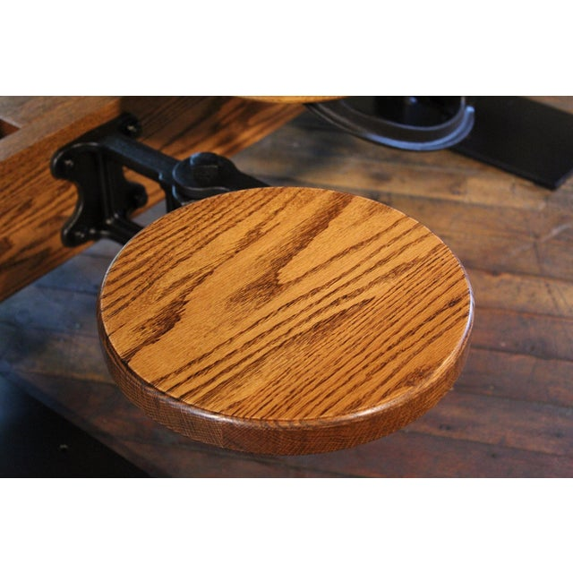 Industrial Swing-Out-Seat Cafe Table For Sale In New York - Image 6 of 9