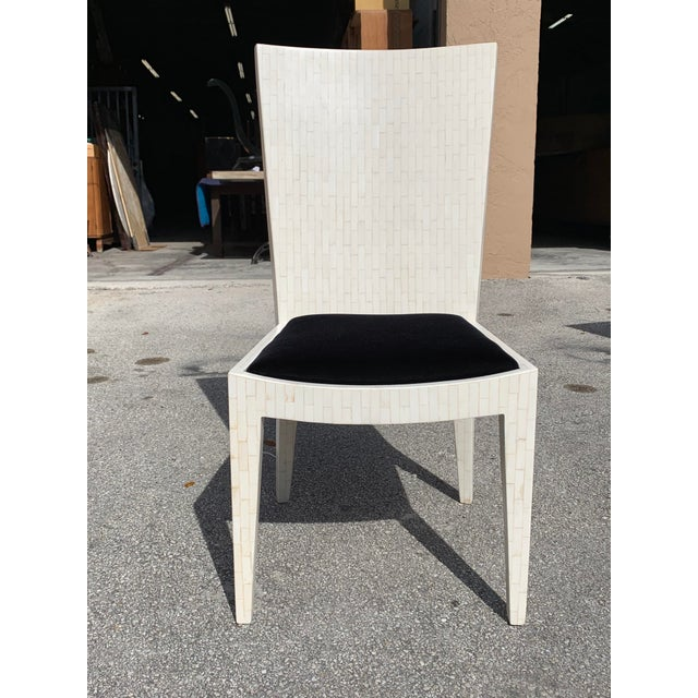 White 1970s Enrique Garcel Tessellated Bone Dining Chairs - Set of 6 For Sale - Image 8 of 13