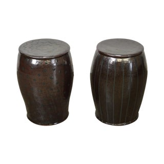 Glazed Pottery Pair of Signed Garden Stools - a Pair