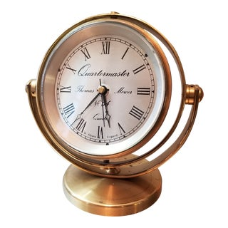 Thomas Mercer Quartermaster Brass Encased Desk Clock For Sale