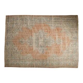 "Vintage Distressed Oushak Carpet - 6'11"" X 9'10"" For Sale"