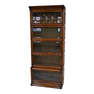 Crafters and Weavers Mission Style Oak Barrister Bookcase 5 Stack High With Leaded Glass For Sale