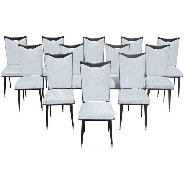 Monumental Set of 12 French Art Deco Dining Chairs, Circa 1940s For Sale - Image 13 of 13