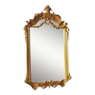French Louis XVI Style Gold Leaf Wooden Floor Mirror For Sale