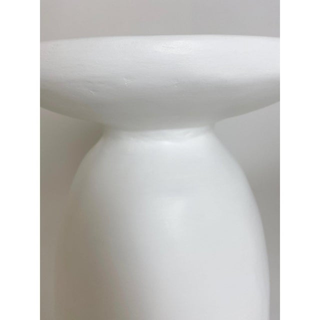Wabi Smooth Plaster Side Table For Sale - Image 4 of 4