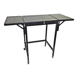 Vintage Industrial Black Typewriter Table With Drop Leaf Sides For Sale