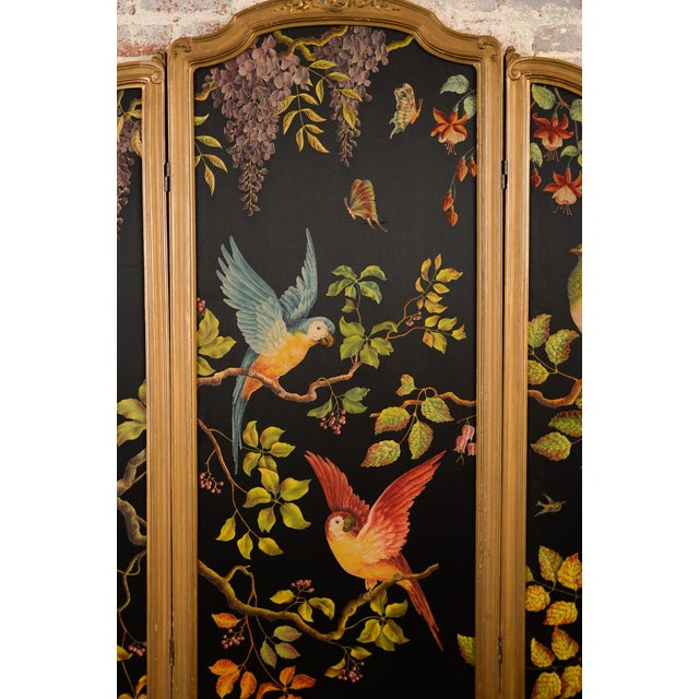 French Three-Panel Parrot Motif Screen - Image 3 of 11