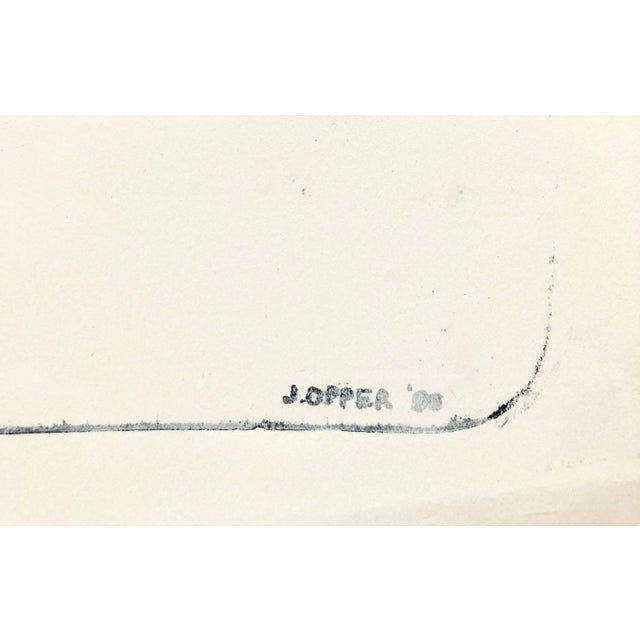 "Jerry Opper Abstract Line Print 1940-1950's Stone Lithograph on Paper 25""x19.5"", Unframed Estate stamp lower left Came..."