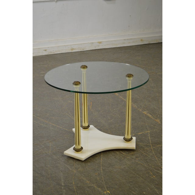 Hollywood Regency Mid Century Marble Base Round Glass Top Side Table - Marble base glass top coffee table
