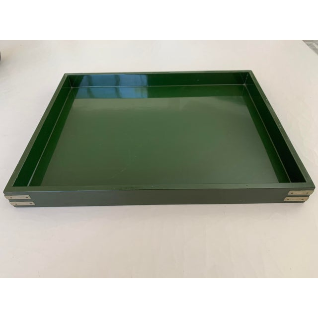"""Roe Kasian, """"British Racing Car Green"""" Lacquer Tray - 1970's For Sale - Image 11 of 11"""